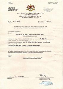 Manafacturing License from MITI
